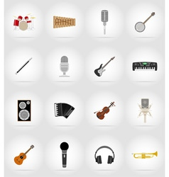 Music items and equipment flat icons 17 vector