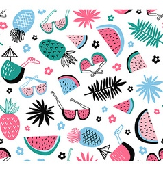 Summer seamless pattern tropical background with vector image