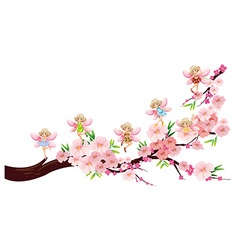 Fairies flying on blossom branch vector image