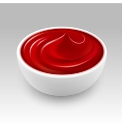White bowl of red tomato ketchup sauce isolated vector