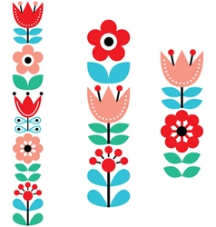 Finnish inspired long folk art pattern - Nordic vector image
