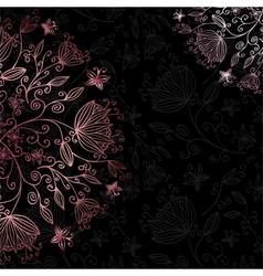 floral card black vector image