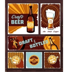 Vintage craft beer banner set vector image