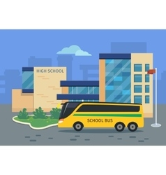 High school building with yellow bus vector