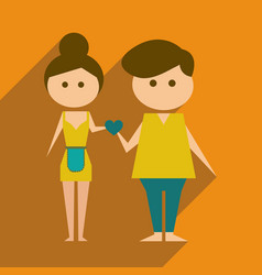 Flat web icon with long shadow husband and wife vector