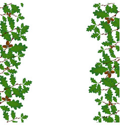 Green branches of oak with acorns on both sides vector