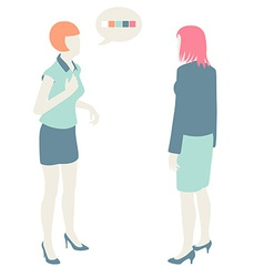 Women and men communicate flat design pastel vector