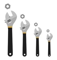 Set of mechanical wrenches with nuts no outline vector