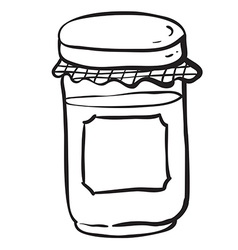 black and white jar with empty label vector image