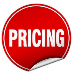 Pricing round red sticker isolated on white vector