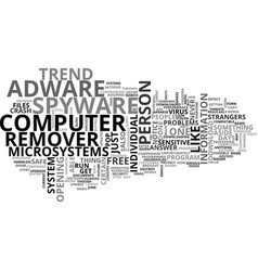 Adware spyware remover text word cloud concept vector
