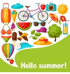 Background with stylized summer objects Design vector image vector image