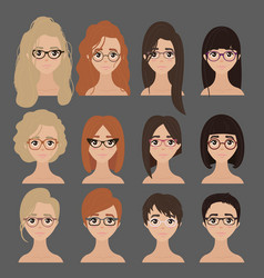 Beautiful collection of female in glasses vector