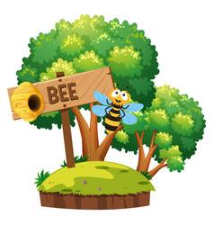 bee flying around in garden vector image vector image