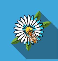 Bee on the flower icon in flat style isolated on vector