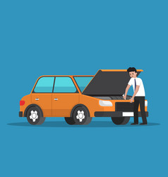 Businessman repair the car vector