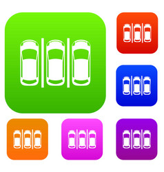 Car parking set collection vector