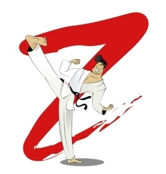 Cartoon of karate guy vector