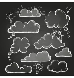 Chalk drawings set of speech bubble cloud vector