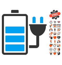 Charge battery icon with dating bonus vector