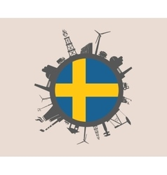 Circle with industrial silhouettes sweden flag vector
