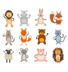 cute animal set vector image vector image