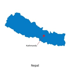 Detailed map of nepal and capital city kathmandu vector