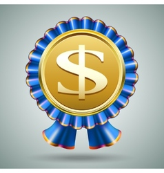 Dollar sign in a blue ribbon rosette vector image