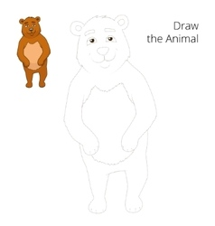 Draw the forest animal bear cartoon vector image