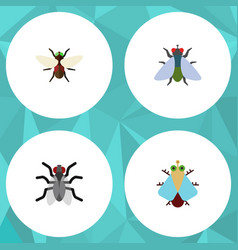 Flat icon buzz set of gnat fly bluebottle and vector