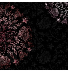 floral card black vector image