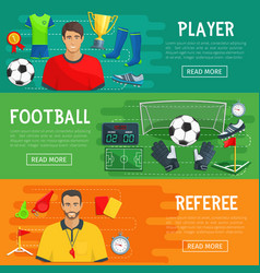 Football banners of soccer game items vector