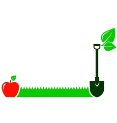 garden background with grass fruit leaf shovel vector image vector image