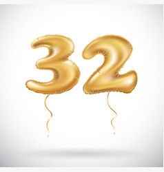 Golden number 32 thirty two of inflatable balloon vector