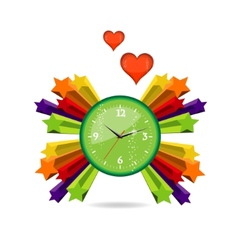 green eco and love clock sign vector image