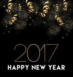 Happy new year 2017 gold party decoration card vector
