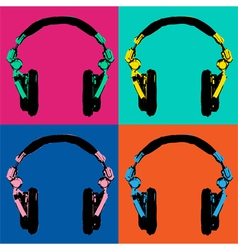 Headphones pop art 2 vector