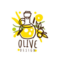image of an oil flask and some olives hand vector image vector image