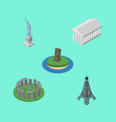 Isometric cities set of athens england new york vector