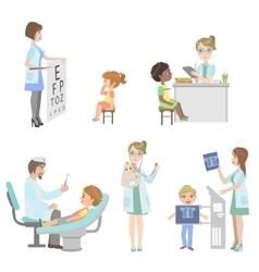 Kids on medical checkup set vector