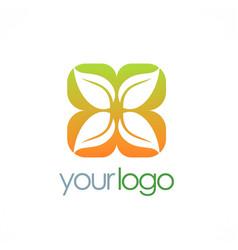 Leaf square ornament logo vector