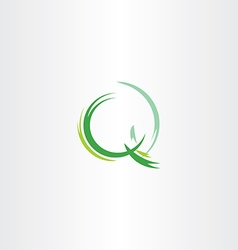 letter q icon green logotype stylized symbol vector image
