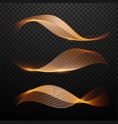 Magic gold waves set light effect vector