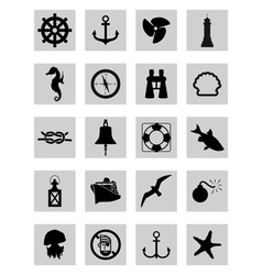 marine icons vector image vector image