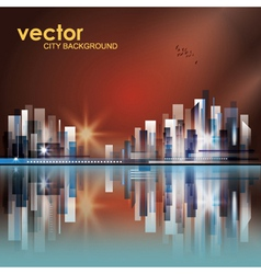 Modern sunset cityscape background vector