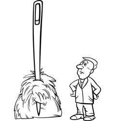 needle in a haystack saying cartoon vector image vector image