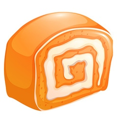 Orange cake roll with cream vector image