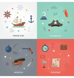 Pirate flat set vector