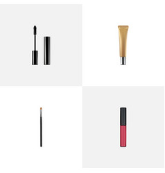 Realistic liquid lipstick collagen tube brow vector