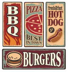 Retro fast food tin signs vector image vector image
